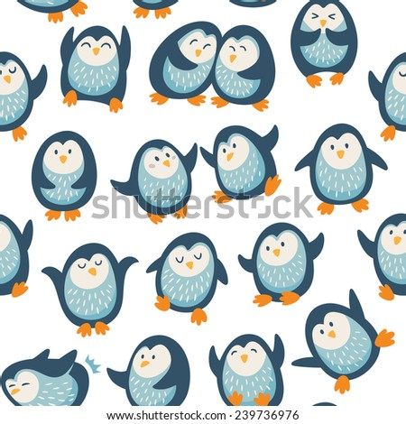 Seamless pattern with funny penguins - stock vector