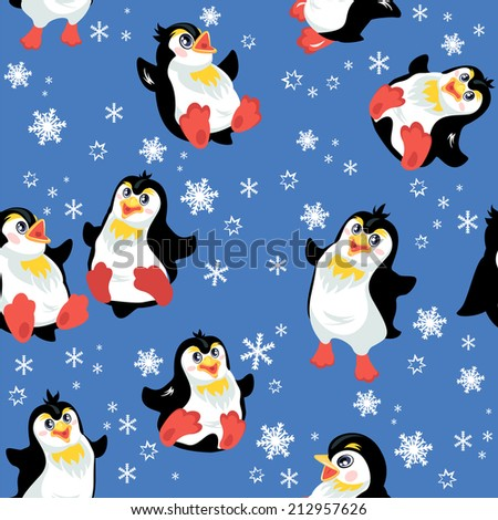 Seamless pattern with funny penguins and snowflakes on blue background, design for winter, Christmas or New Year themes - stock vector