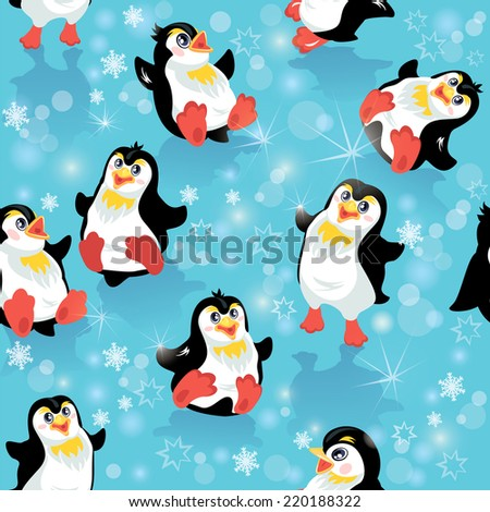 Seamless pattern with funny penguins and snowflakes on blue icy background, design for winter, Christmas or New Year themes - stock vector