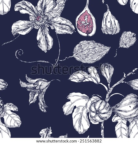 Seamless pattern with garden, dates and flowers on indigo background in vector - stock vector