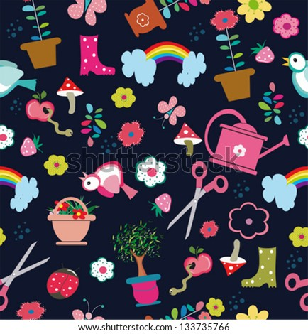 Seamless pattern with garden tools on green background - stock vector