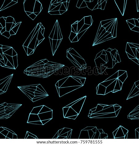 Seamless Pattern With Gemstones Valuable Crystals Or Precious Stones Hand Drawn Blue Contour Lines