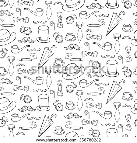Seamless pattern with gentlemen elements, hats and mustache. Vector illustration - stock vector