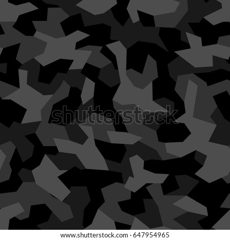 Seamless Pattern With Geometric Camouflage Abstract Military Grey And Black Background