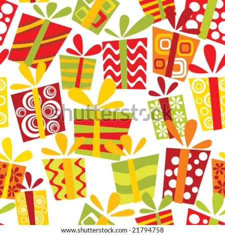 Seamless pattern with gift boxes - stock vector
