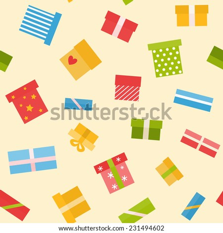 Seamless pattern with gift boxes in flat style - stock vector