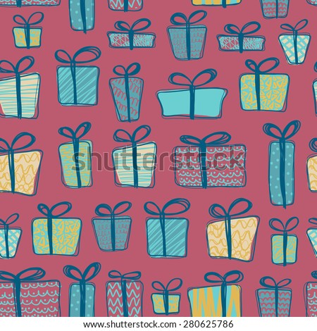 Seamless pattern with gift boxes. Vector illustration.