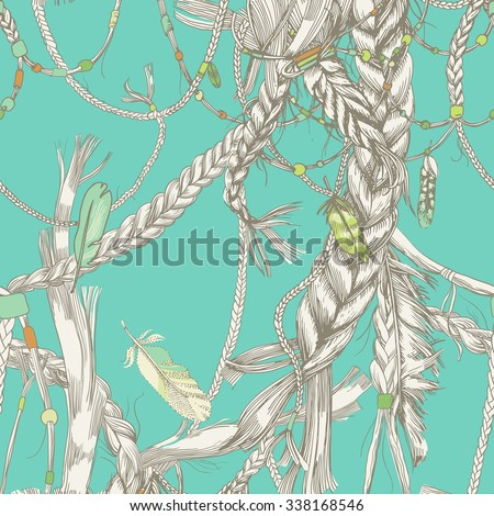 Seamless pattern with girlish braids, hair, wind and feathers. In the hair woven beads. Indian girls - stock vector