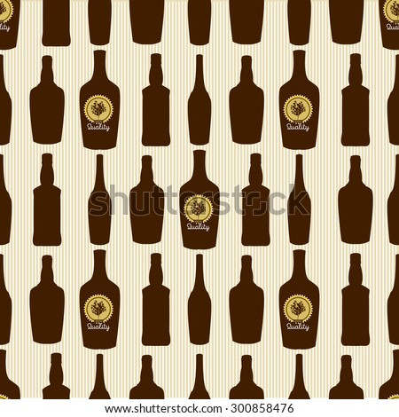 Seamless pattern with glass bottles silhouettes.Vector illustration.
