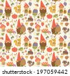 Seamless pattern with gnomes - stock