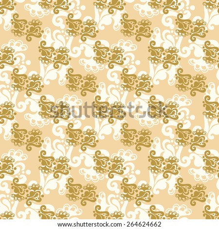 Seamless pattern with gold floral ornament.  Wallpaper background with vintage flower. Fabric, textile, wrapping or web texture - stock vector