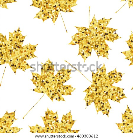 Seamless pattern with golden maple leaves. Vector illustration