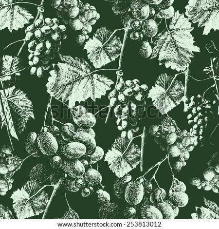 Seamless pattern with grapes and leaves. Hand drawn - stock vector