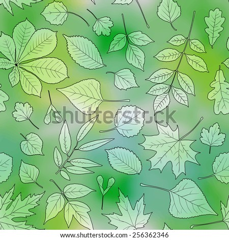 Seamless pattern with green leaves of various trees on watercolor green background: chestnut, birch, linden, alder, oak, aspen, maple, ash, box elder, poplar. Vector design.