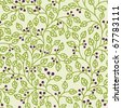 seamless pattern with green leaves ornament - stock vector