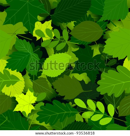 seamless pattern with green leaves. Vector. - stock vector