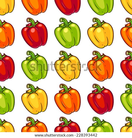 Seamless pattern with green, orange, red ang yellow bell pepper. - stock vector