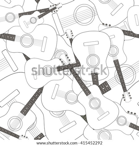 Seamless pattern with guitars - stock vector
