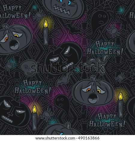 Seamless Pattern with Halloween objects on blackboard, vector