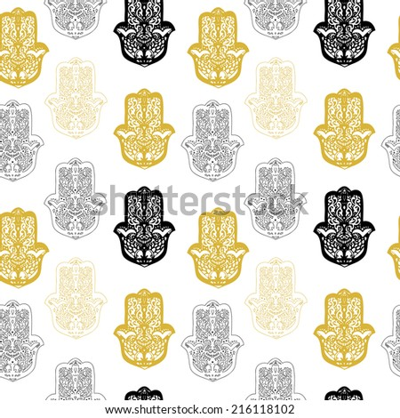 Seamless pattern with hamsa hand. Used for wallpaper, pattern fills, web page background,surface textures. - stock vector