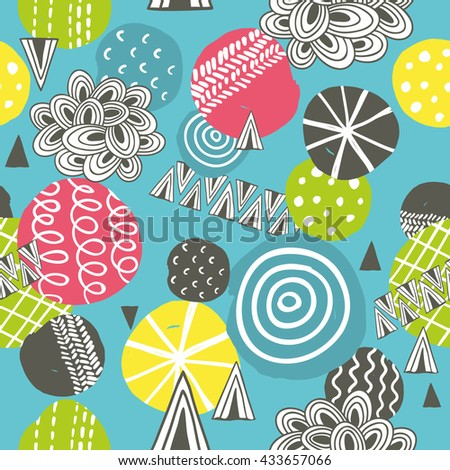Seamless pattern with hand drawn balls. Creative vector background in modern style. - stock vector