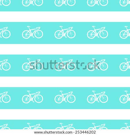 Seamless pattern with hand drawn bicycle. - stock vector