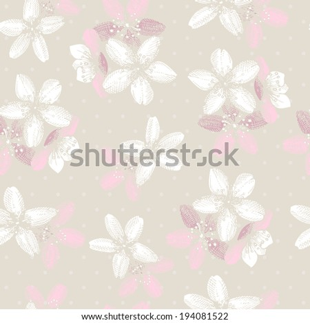 Seamless pattern with hand drawn blooming fruit tree twig. - stock vector