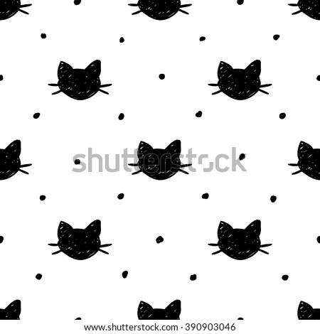 Seamless pattern with hand drawn cats. Ink doodle. - stock vector
