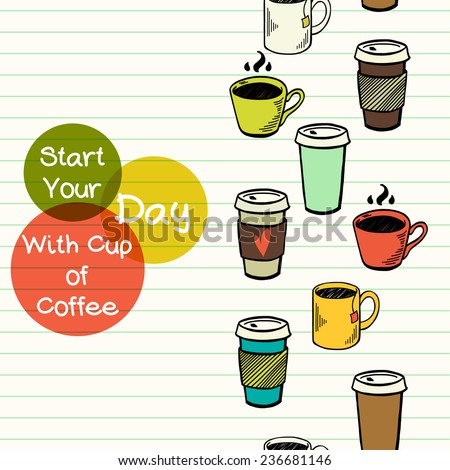 Seamless pattern with hand drawn doodle cups of coffee and tea. Tiling pattern with cartoon cups. - stock vector