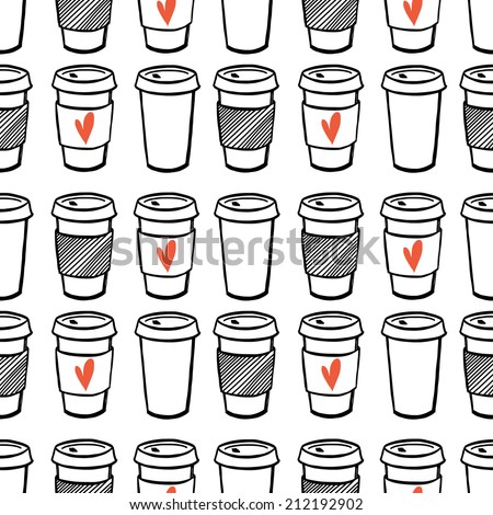 Seamless pattern with hand drawn doodle cups of coffee to go. Cartoon morning coffee tiling pattern. - stock vector
