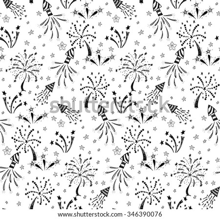 Seamless pattern with hand drawn doodle fireworks.It can be used for holiday design. - stock vector