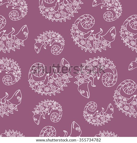 Seamless pattern with Hand drawn doodle style set of chameleon with mechanic details inside. Robot animals. Kids cartoon style. Vector stock illustration.  - stock vector
