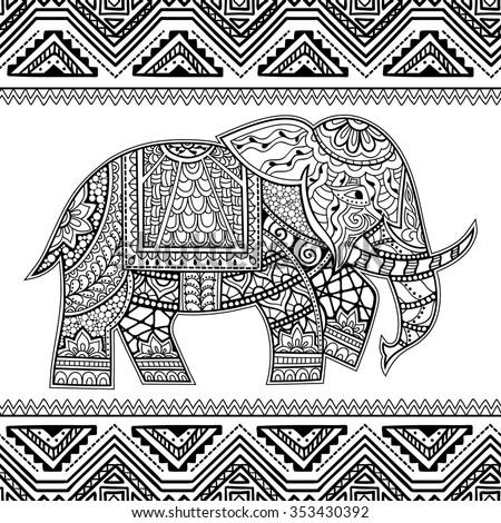 Seamless Pattern with Hand Drawn Ethnic Elephant. Zenart Stylized - stock vector
