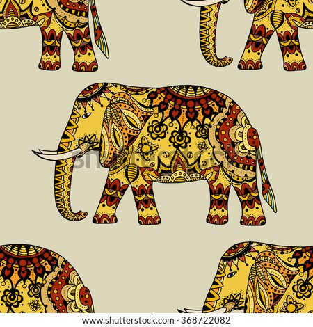 Seamless Pattern with Hand Drawn Ethnic Elephant. Zenart Stylized