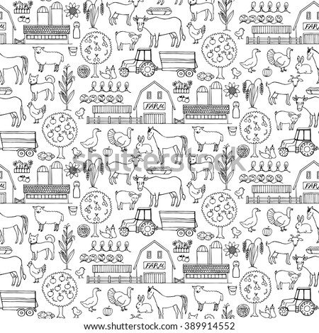 Seamless pattern with hand drawn farm elements