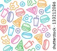 seamless pattern with hand drawn fast food - stock vector