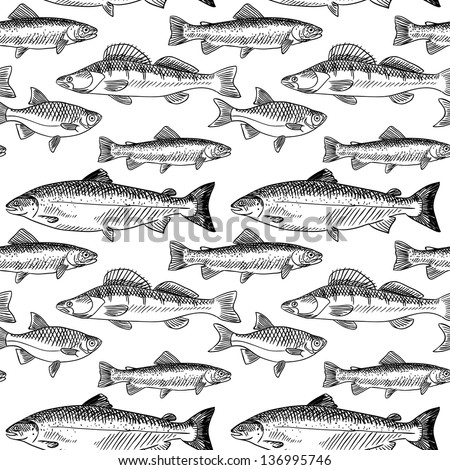 Seamless pattern with hand drawn fish in vintage style - stock vector
