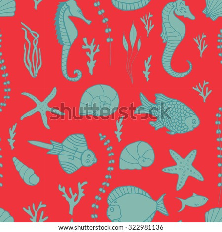 Seamless pattern with hand drawn fishes, corrals, shells, seaweeds and sea-horses. Perfect background texture for menus, booklets or web designs.