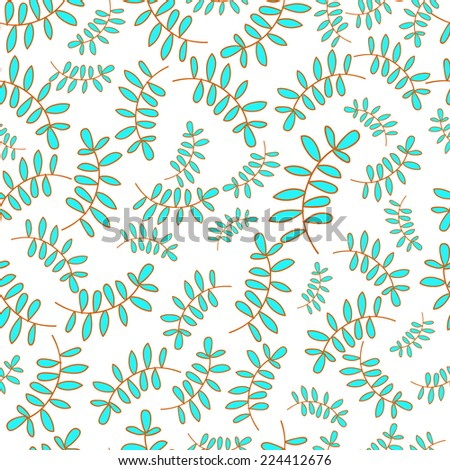 Seamless pattern with hand drawn flower leaves on white background. Clipping mask is used, vector illustration.