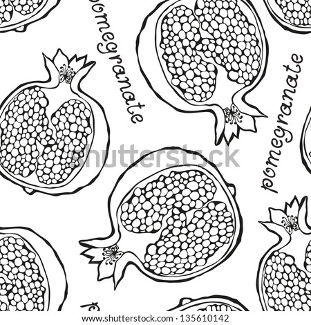 Seamless pattern with hand-drawn half of pomegranate - stock vector