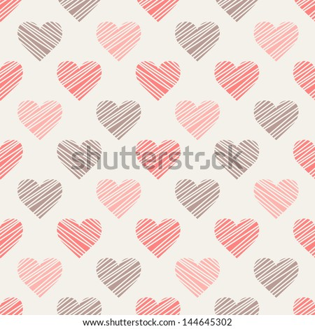 Seamless pattern with hand drawn hearts. St Valentine's day background. Cute texture with polka dot hearts - stock vector