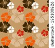 seamless pattern with hand drawn hibiscus flowers on the beige background vector - stock vector