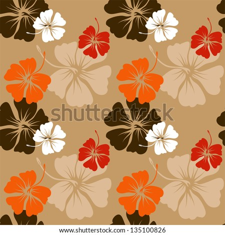 seamless pattern with hand drawn hibiscus flowers on the beige background vector