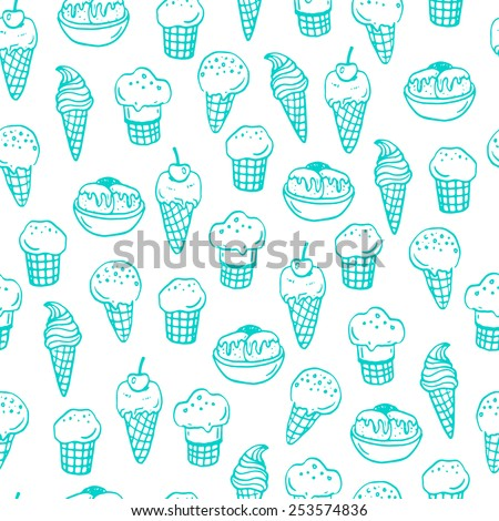 Seamless pattern with hand drawn ice creams. - stock vector