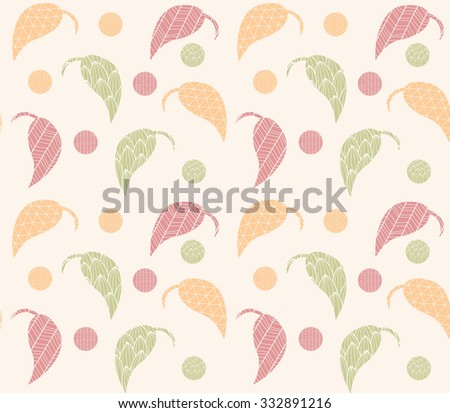 Seamless pattern with hand drawn leaves with line patterns, vector illustration - stock vector