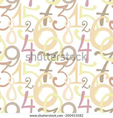 Seamless pattern with hand drawn painted numbers. Vector illustration - stock vector