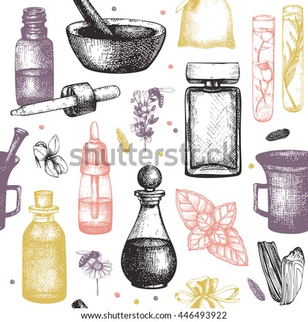 Seamless pattern with hand drawn perfumery and cosmetics materials sketch. Organic and floral perfume ingredients background. Vintage illustration - stock vector