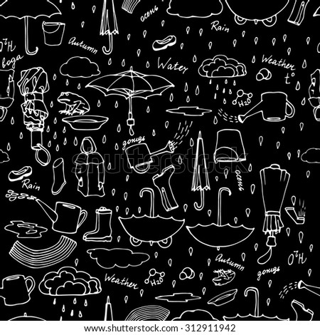 Seamless pattern with hand drawn pictures of rainy weather, autumn motives, umbrellas, water. Hand drawn rain, water, autumn set. Vector illustration. Black background, white strokes