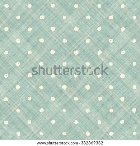 seamless pattern with hand drawn polka dots on turquoise diagonal texture background - stock vector