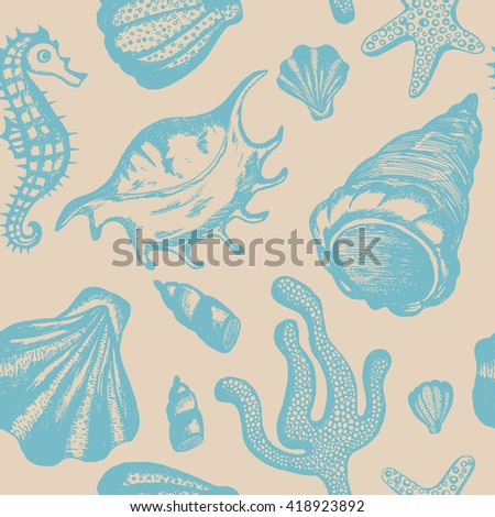 Seamless pattern with hand drawn seashells. Marine background. Vector vintage texture with seashells, coral, sea horse, starfish